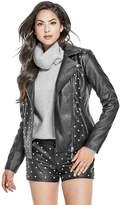 GUESS Women's Rocky Embellished Moto Jacket