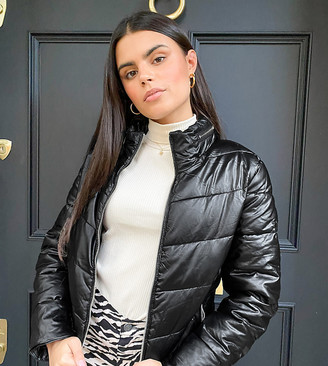 Parisian coated puffer jacket in black