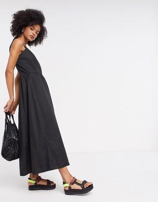 InWear square neck maxi dress in black