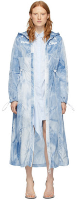 Off-White Blue Tie-Dye Rain Coat