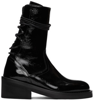 Ann Demeulemeester Black Patent Crinkle Boots