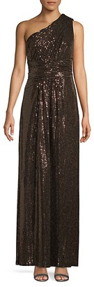Calvin Klein One-Shoulder Sequin Gown