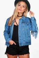boohoo Plus Freya Heavy Rip Fringe Denim Jacket blue
