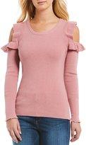 Jessica Simpson Amenta Cold-Shoulder Ruffle Long Sleeve Top