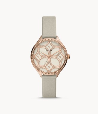 Fossil Suitor Three-Hand Gray Leather Watch jewelry
