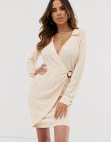 Asos Design DESIGN buckle detail mini shirt dress in tonal animal print