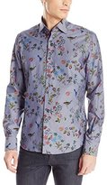 Stone Rose Men's Floral Chambray Long Sleeve Button Down Shirt