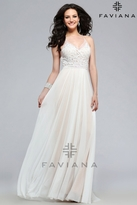 Faviana 7717 Mesh v-neck prom dress with lace and beading detail