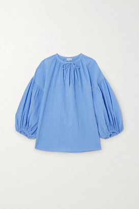 By Malene Birger + Net Sustain Kyra Crinkled-organic Cotton Top - Blue