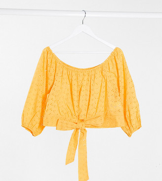 Brave Soul Plus marinda broderie puff sleeve top in yellow