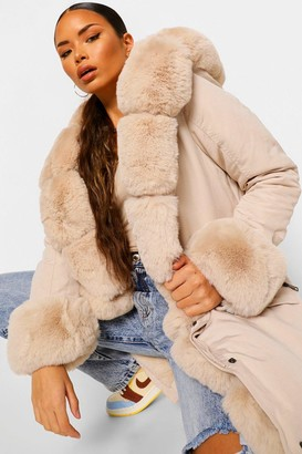 boohoo Premium Faux Fur Lined Parka