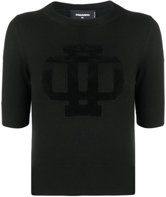 DSQUARED2 Logo Embossed Wool Blend Top