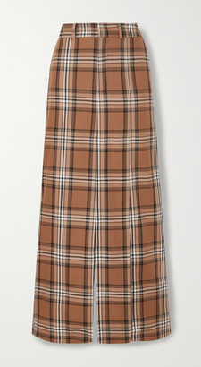A.W.A.K.E. Mode Checked Cotton-twill Maxi Skirt - Brown