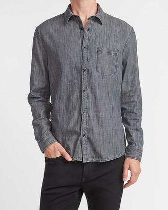 Express Slim Black Denim Shirt