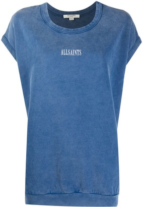 AllSaints rolled sleeves logo print T-shirt