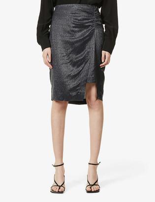 Reiss Eliza layered metallic woven mini skirt