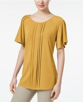 Charter Club Petite Pleated Flutter-Sleeve Top, Only at Macy's