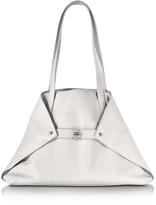 Akris Ai Small White Leather Tote Bag