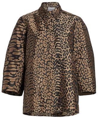 Ganni Leopard Print Oversized Blouse