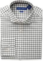 Vince Camuto Men's Slim Fit Windowpane Check Dress Shirt, White/Grey