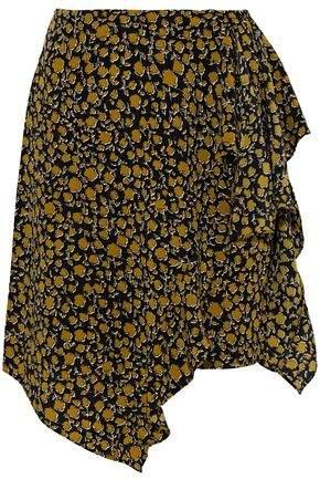 Derek Lam 10 Crosby Asymmetric Ruffled Printed Silk Skirt
