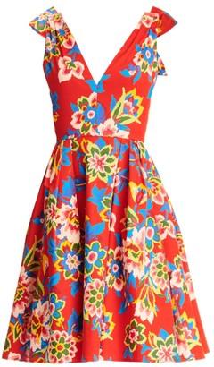 Carolina Herrera Floral Bow-Shoulder Fit-&-Flare Dress