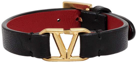 Valentino Black and Red Garavani VLogo Bracelet