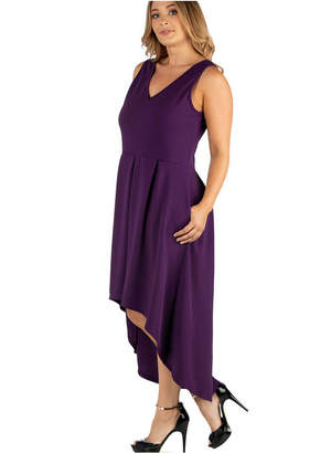 N. 24Seven Comfort Apparel Sleeveless Fit Flare High Low Plus Size Dress