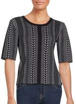 Saks Fifth Avenue BLACK Patterned Elbow-Sleeve Top