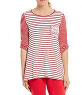 Multiples Stripe Knit High-Low Hem 3/4 Sleeve Top