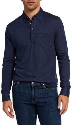 Peter Millar Men's Silk-Blend Long-Sleeve Polo Shirt