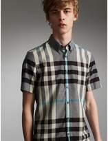 Burberry Button-down Collar Short-sleeve Check Cotton Shirt , Size: Xxxl, Grey