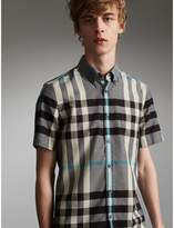 Burberry Button-down Collar Short-sleeve Check Cotton Shirt