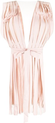 Stella McCartney pleated short-sleeve V-neck dress