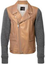 Undercover knit sleeves biker jacket - men - Calf Leather/Cupro/Wool - 3