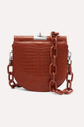 Gu_de - Demi Lune Croc-effect Leather Shoulder Bag - Brown