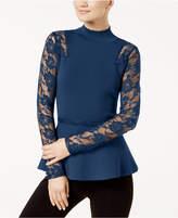 INC International Concepts I.n.c. Lace-Sleeve Peplum Sweater, Created for Macy's
