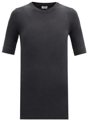 Brunello Cucinelli Ribbed Cotton-blend Jersey T-shirt - Dark Grey