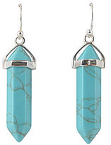 Barse Genuine Turquoise Magnesite Stone Bar Sterling Silver Earrings