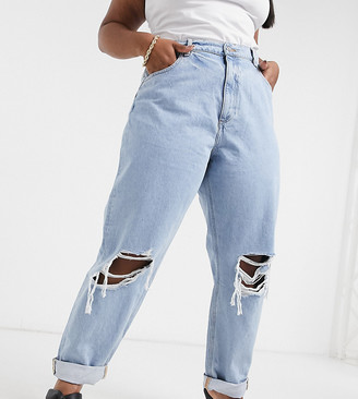 ASOS DESIGN Curve recycled high rise 'slouchy' mom jeans in lightwash with rips