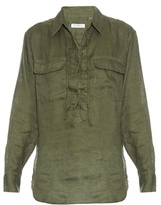 Equipment Knox lace-up linen shirt
