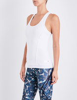 adidas by Stella McCartney Ladies White Round Comfortable Fitted Stretch-Jersey Tank Top