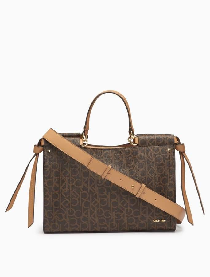 Calvin Klein monogram 3-compartment satchel