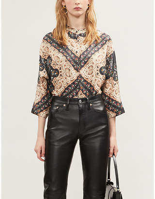 Sandro Paisley and floral-print silk-satin blouse