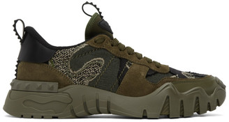 Valentino Green and Black Garavani Rockrunner Plus Sneakers