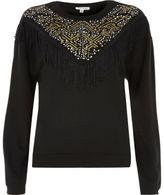 River Island Womens Black western fringe sweatshirt