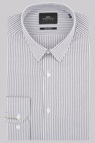 Moss Bros Extra Slim Fit Black & White Single Cuff Stripe Shirt