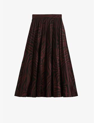 Ted Baker Viviyn zebra-print pleated crepe midi skirt