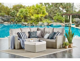 Highland Dunes Pangkal Pinang All-Weather Wicker Outdoor Seating Set With Double Loveseat With Large Ottoman
