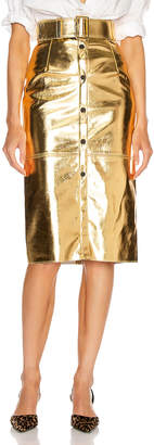 MSGM Long Metallic Skirt in Gold | FWRD